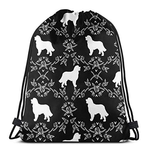 vintage cap Bernese Mountain Dog Floral Silhouette Black and White_601 3D Print Drawstring Backpack Rucksack Shoulder Bags Gym Bag for Adult 16.9