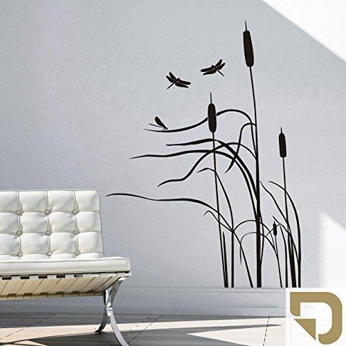 DESIGNSCAPE® Wandtattoo Schilf im Wind - Schilfgras mit Libelle - Schilfhalme 74 x 100 cm (Breite x Höhe) gold DW804010-S-F26