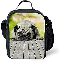 showudesigns–Impresión Animal Perro Carlino fiambrera bolsa para el almuerzo, poliéster, Color 2, small