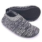 Dream Bridge Zapatillas de Estar por Casa para Niños Chicos Antideslizantes Calcetines Zapatos de Deporte con Suela de Goma (Negro)