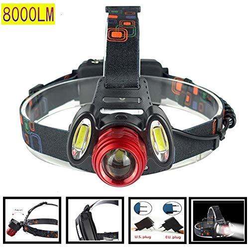 Wiederaufladbare LED Stirnlampe Scheinwerfer USB Wasserdicht T6 2COB 8000LM 4 Modi Wiederaufladbar Starkes Hauptlicht Rotierender Zoom Kopf Angelscheinwerfer Outdoor Nacht Angelscheinwerfer