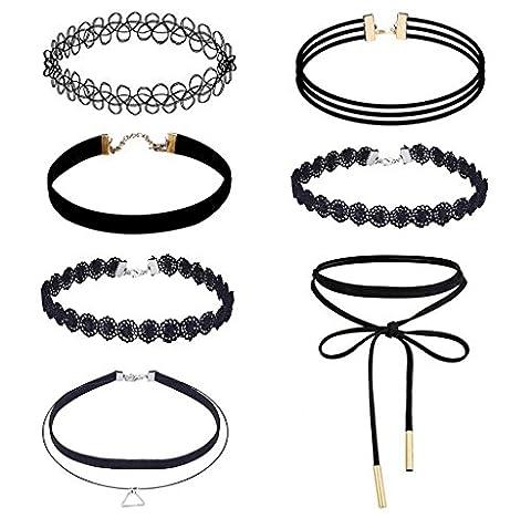 Collier Elyseesen 7 pièces Choker Necklace Set velours Stretch tatouage gothique classique collier
