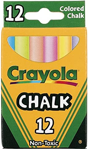 CRAYOLA COLORED LOW DUST CHALK,12 count in each,6 pack
