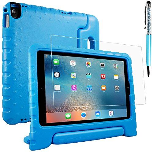 AFUNTA Schutzhülle für iPad Air 2, Pro 9.7 mit Displayschutzfolie und Stylus, Shockproof Cabrio Griffständer Eva Case, PET Kunststoffabdeckung und Touch Pen für Tablet Apple iPad - Blau Cabrio Laptop-computer