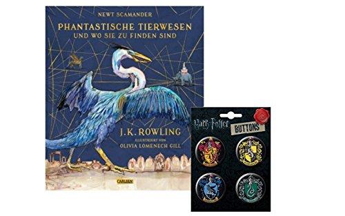 Phantastische Tierwesen und wo sie zu finden sind (vierfarbig illustrierte Schmuckausgabe) - Hardcover + 1 Harry Potter Hogwarts Button