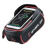 LBWNB Bike-Frame Bag-Bike Pannier Top Tube Wasserdichte Handlebar Taschen, Bike Pouch Phone Holder, Fahrradtasche Touch Screen für Smart Phone unter 6 Zoll,Red