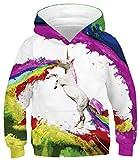 Ocean Plus Niños Sudaderas con Capucha Cool Pullover para Niños Niñas Adolescente Camiseta de Manga Larga (M (Altura: 125-145cm), Unicornio Arcoiris)