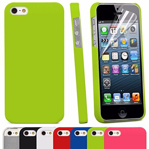 Brillant TM–slim fit Armour à clipser Coque arrière rigide à clipser pour Apple iPhone 5/5S avec protecteur d'écran/SE Vert citron