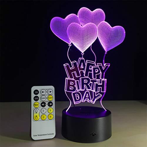 (Leuchten Für Kinder, Tisch Und Nachttischlampen,Alles Gute Zum Geburtstagsgeschenk Love Balloons 3D Lampe Led Tischlicht Acryl Nachtlampe Mit 7 Farben Ändern Fernbedienung Touch Lava Lampe)