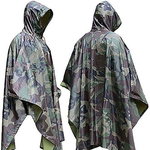 Aodoor Impermeable De Camuflaje, Poncho Camouflage, Ponchos impermeables, para Caza pesca, senderismo y acampada Chubasquero