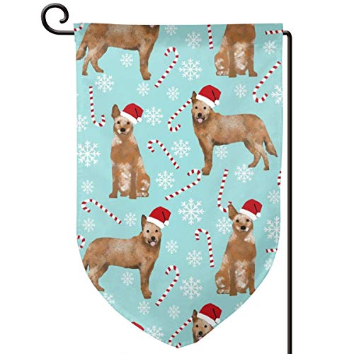 vintage cap Australian Cattle Dog red Heeler Breed c Polyester Garden Flag House Banner 12.5 x 18 inch, Two Sided Welcome Yard Decoration Flag for Wedding Party Home Decor -