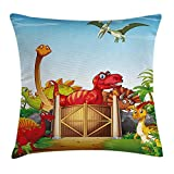 Kids Throw Pillow Cushion Cover, Cartoon Style Cute Dinosaurs in a Dino Park Jungle Trees Wildlife Habitat Illustration, Decorative Square Accent Pillow Case, 18 X 18 Inches, Multicolor
