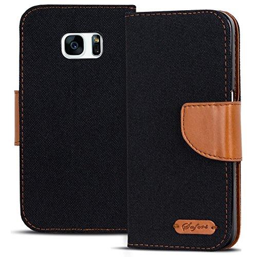 Conie Textil Hülle kompatibel mit Samsung Galaxy S7 Edge, Booklet Cover Schwarze Handytasche Klapphülle Etui mit Kartenfächer