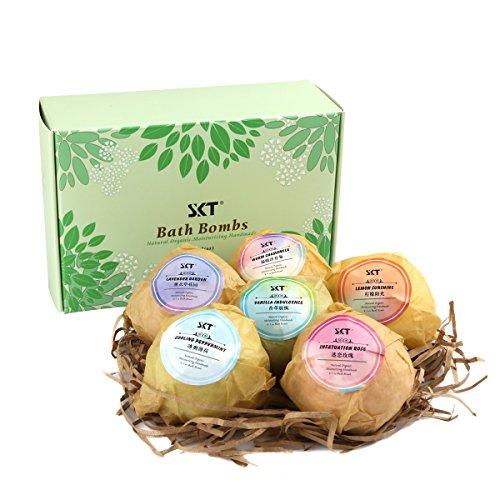 Badebomben 6 Stück Geschenkset, 100% Handgefertigt mit Ätherische Öle Naturrein, Bath Bombe Hautpflege - Sechs Einzigartige Düfte für Spa Bad Schaum (Bio-kamille Schaumbad)