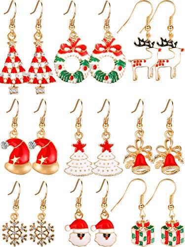 Tatuo 9 Paar Weihnachten Ohrringe Weihnachten Baumeln Ohrringe -