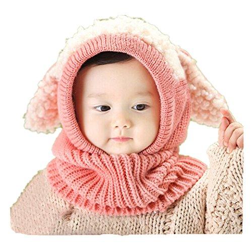 Babybekleidung Hüte & Mützen Longra Winter-Baby Kids Warm Woolen Coif Hood Schal Kappen Mützen(0-3 Jahre) (pink) (Modische Wolle Solid)