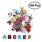 ROSENICE Glitzer Aufkleber Verschiedene Farben Schaumstoff Buchstaben Stickers für Kindergarten Dekor 150pcs