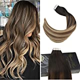 Ugeat 40cm Glatt Haarverlangerung Echthaar 50Gramm 2.5g/pc Tape Extensions Haar Tressen Echthaar Balayage Farbe #2 mit #6 bis #12