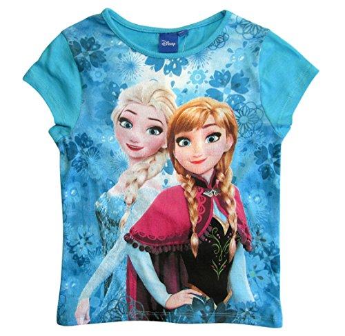 Frozen - Die Eiskönigin T-Shirt Kollektion 2018 Shirt 98 104 110 116 122 128 Mädchen Kurzarmshirt Anna ELSA Disney (Blau, 98-104) (Disney Frozen Elsa Kleid)
