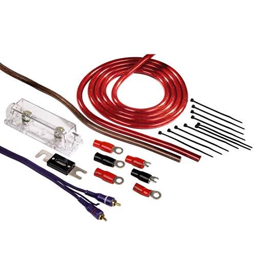 Hama Anschluss-Set für Car Hifi-Verstärker (AMP-Kit mit Powerkabeln (35 mm²), Cinchkabel, Sicherungshalter, Sicherung, Gabelkabelschuhen und Kabelbinder) (Audio Subwoofer Kit)