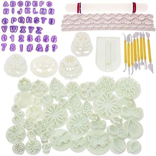 figuras kawaii porcelana fria BIGTEDDY–Kit de moldes de decoración para glaseado con moldes de flores