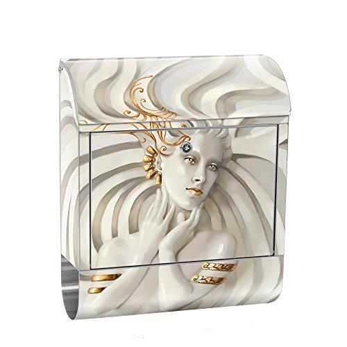 liwwing Briefkasten Edelstahl mit Motiv und Zeitungsfach, Zeitungsrolle als XXL Design Wandbriefkasten | Frau Erotik Gold elegant 3D | no. 0045