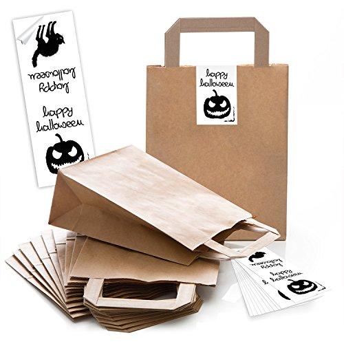 10 braune Papiertüten Papier-Tragetaschen Geschenktüte Boden 18 x 8 x 22 cm kleine Papiertaschen mit Halloween-Aufkleber Banderole Halloween Kürbis Verpackung Süssigkeiten Kinder