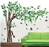 Riesige Elegante grüne Baum mit Eichhörnchen und Kaninchen spielen um Baum Wandtattoo (Zweig nach rechts, groß)