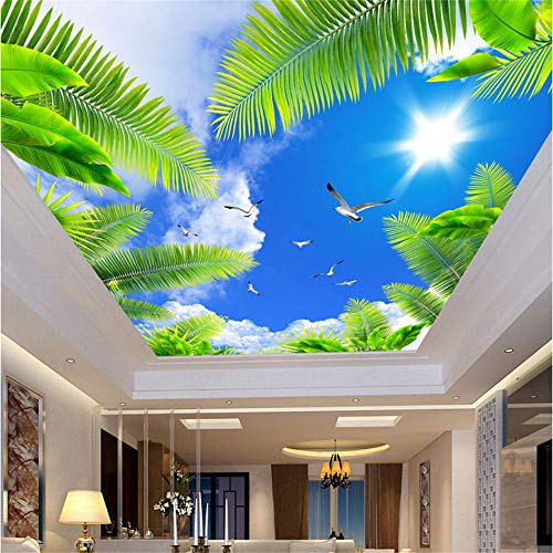 (Guyuell Benutzerdefinierte 3D Decke Wandbild Fototapete Wohnzimmer Thema Hotel Decke Wand Dekor Blauer Himmel Weiße Wolken Strand Baum Tapeten-200Cmx140Cm)