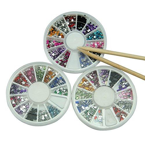Mode Galerie Lot de 3 Strass Déco pour Ongles avec 2pcs Bâton Faux Naturels Gel UV Vernis 12 Couleurs