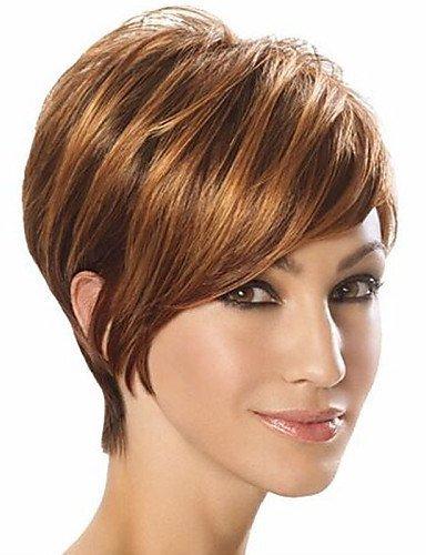 Perruque & xzl Perruques Fashion europe et aux états-unis mode de haute qualité de haute qualité à haute température soie cheveux synthétiques perruque cheveux courts,brown