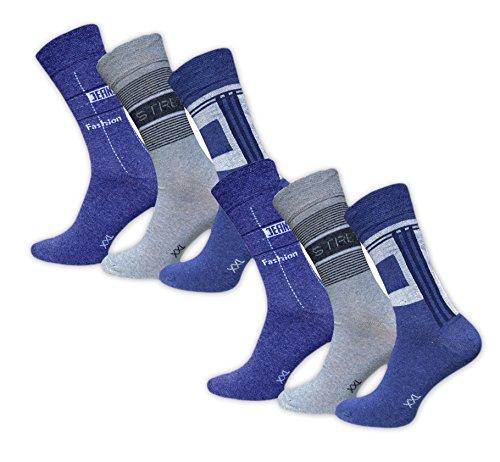 Footstar 6 Paar Herrensocken Freizeit Socken Jeans Übergröße Socken Größe 47-50