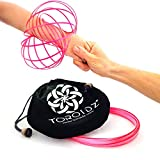 Toroidz® (Pink Glow - Amazing Magic Flow Toy w/ Quality Velvet Travel Bag - Interactive Museum - 3D ARM RING - Science, Circus , Festival - All Ages Gift