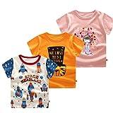 3PCS Kobay Neugeborenes Baby Mädchen Jungen T-Shirt Cartoon Print Tops Outfits Kinder Kinder Cartoon gedruckt Kurzhülse T-Shirt (6-18M)