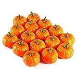 Halloween Kürbisse Deko, 16 Stücke Orange Künstliche Zierkürbisse Herbst Tischdeko für Halloween Haus Dekor - 2