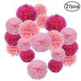 Sicai 27 Pièces Pompons en Papier de Soie, Poms Fleurs Boules De Fleurs Papier pour Mariage Décoration Fête d'Anniversaire - 20 cm, 25 cm, 30 cm (Rose & Rose Pâle & Rose Foncé)