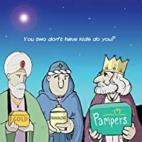Twizler Merry Christmas Card with Three Wise Men, Nappies and Pampers - Happy Christmas Card - Xmas Card - Funny Christmas Card - Womens Christmas Card - Mens Christmas Card - Male Christmas Card
