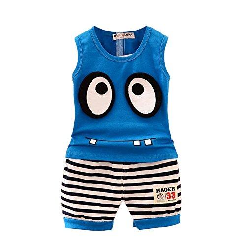 ESHOO Baby Jungen Karikatur Outfits Kinder Sommer Top + Kurze Hosen Set 1-5 Jahre, Dunkelblau, 1-2 Jahre (Jungen Sommer Kurz)