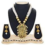 #6: The Luxor Peacock Design Haram Mala Kundan Jewellery Necklace Set with Earrings for Women & Girls -NK-2199