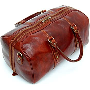 Leathario Mens Full-grain Leather Weekend Travel Duffel Bag ...