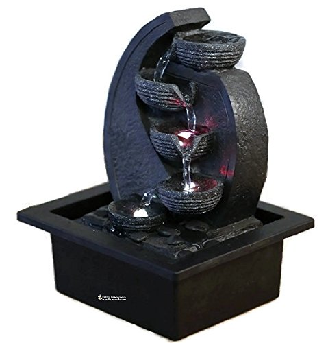 Indoor Water Feature Fountain Feng Shui Cascade brown with color changing LED 26 cm