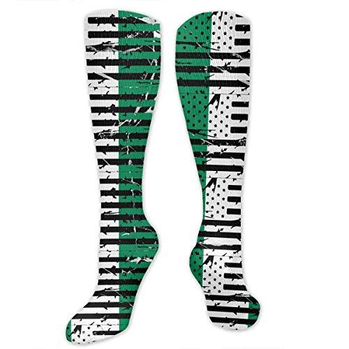 wonzhrui Nigerian American Flag Knee High Sport Compression Long Stockings For Baseball Sports