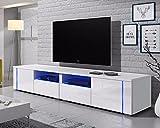 TV Schrank Lowboard Sideboard Tisch Möbel Board OXY Double (Weiß Matt / Weiß Hochglanz)
