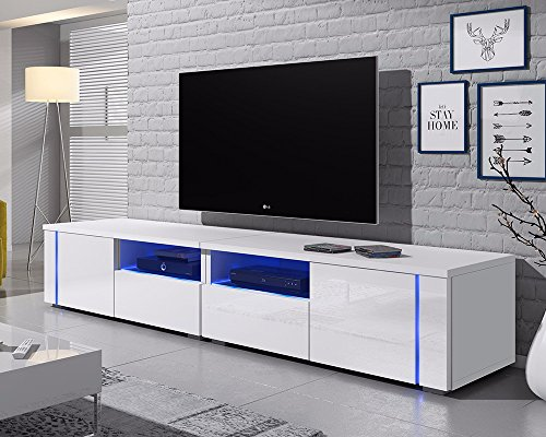 Support TV Oxy 200 cm (blanc mat/ fronts blanc brillant)