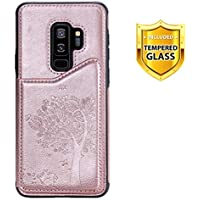Boloker Funda para Samsung Galaxy S9 Plus [con Protector Pantalla], Estilo único Elegante Vendimia Patrón Prensado Cuero de PU Carcasa [Ranuras de Tarjeta] Fundas Case Cover (Oro Rosa)