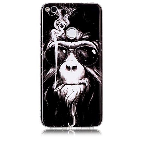 Huawei P8 Lite 2017 Hülle, Chreey [Retro Serie] Interessant Weiche Flexibel TPU Silikon Handyhülle Ultra Dünn Kratzfest Anti-Rutsch Schutzhülle Bumper Case Cover [Rauchender Affe]