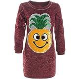 BEZLIT Mädchen Long Pullover Wende-Pailletten Langarm Sweatshirt 21482, Farbe:Bordeaux, Größe:116