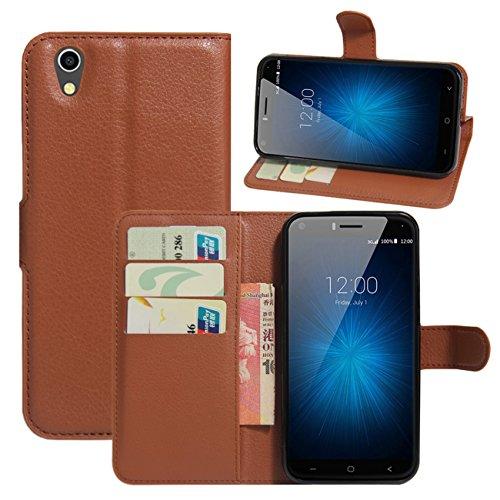 HualuBro UMIDIGI London Hülle, [All Aro& Schutz] Premium PU Leder Leather Wallet Handy Tasche Schutzhülle Case Flip Cover mit Karten Slot für UMIDIGI London 5.0 Inch 3G Smartphone (Braun)