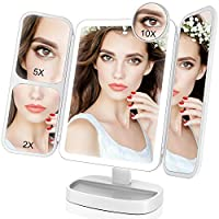 EASEHOLD Makeup Vanity Mirror with 1000LUX Bright LEDs Soft Natural 1X/2X/5X/10X Magnifying Ultra-Thin Portable 180 and 90 Rotation Touch