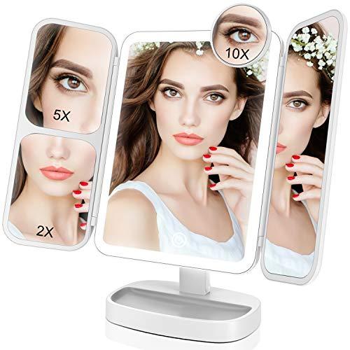 EASEHOLD Schminkspiegel mit Beleuchtung und 10X/5X/2X Fach Vergrößerung, Make Up Spiegel mit Dimmbare Licht 180 Grad und Touchschalter, Kosmetikspiegel für Badezimmer und Schlafzimmer